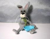 OOAk Fiber needle felting gray rabbit soft sculpture toy doll from lamb wool