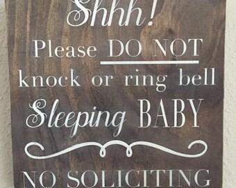 Shhh Sleeping Baby wood sign / door hanger