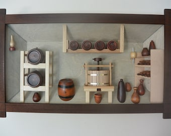 Handmade 3D wooden picture/ 3d house/Wine storage/ Artist house/ Home decor picture