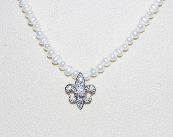 Pearl Necklace with Fleur de Lis 16 Inches - S1456