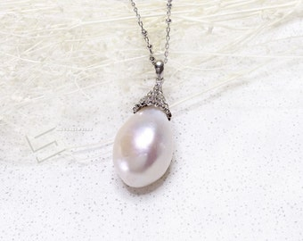 20MM Large Baroque Pearl In Sterling Silver Necklace, AAA Grade Big Pearl & Silver Setting Necklace, White Pearl  Pendant