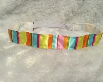 Satin Multi-colored Stripe Non-slip Adjustable Headband