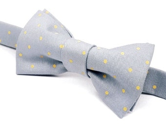 Grey and Yellow Bow tie, Grey Bow tie, Yellow Polka Dot Bow tie, Men's Gray and Yellow Bow tie, Grey & Yellow Bow tie for kids