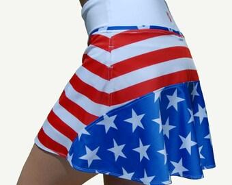 Wonder Woman Running Skirt, Patriotic Skirt, Avengers Running Skirt Fourth Of July Tennis Skirt, Independence Day,  By Jenny Vals Sportswear