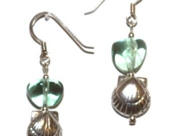 Sea green quartz and silver sea shell earrings, Pantone Limpet Shell