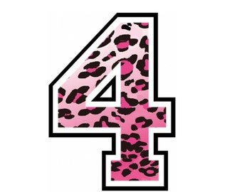 iron on number 4 Pink Cheetah for Tshirt iron on transfer, instant download