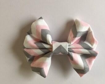 Pink, Gray, and White Chevron Hair Bow - Little Girls/ Toddler/ Baby/ Newborn