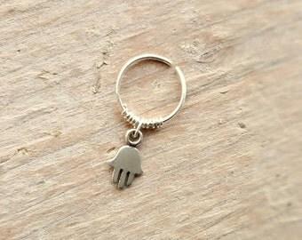 Helix Earring , Cartilage Hoop , Hamsa Helix Hoop , Silver Helix Piercing , Nose Ring , 22ga/20ga , 8mm inner diameter , Single