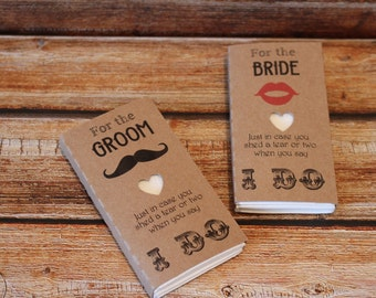 Wedding favour tissues for the bride and groom gift