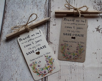 Pencil us In Save the Date tags Country Invitation with envelope/twine invite