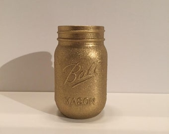 Glitter Metallic Gold Mason Jar
