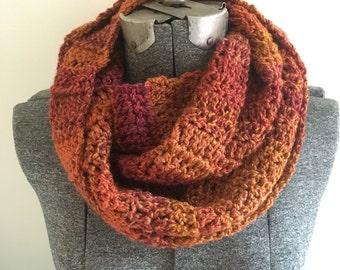 Crochet Infinity Scarf - Wildfire / Gift for mom, sister, friend, grandma