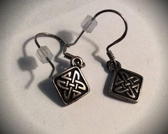 Celtic Knot Engraved Sterling Silver Earrings