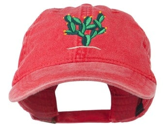 Cactus Embroidered Washed Cap
