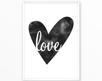 Love Print Poster, heart, watercolor, printable, art, digital, Typography, Quotes, Inspirational Home Decor, Screenprint, wall art, gift
