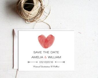 Printable Save The Date, Fingerprint Save The Date, Modern, Save The Date Postcard, Printable
