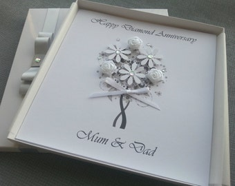 Silver Diamond 60th 10th 25th Wedding Anniversary Congratulations Card Handmade Personalised Keepsake Parents Grandparents Friends Boxed