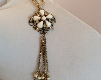 Gold Tone Necklace with Repurposed Vintage Brooch