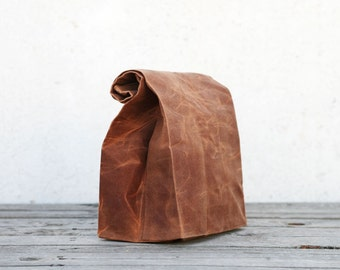 Waxed canvas Lunch Bag with cotton lining - Brown