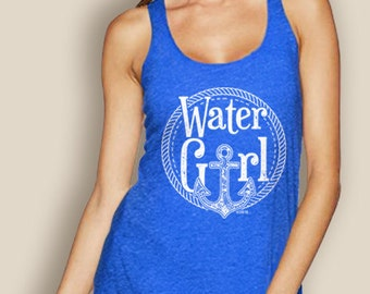 SALE- Women's Boating Tank Tops- WaterGirl Rope Anchor Racerback Tank with Anchor- Boating tank- Nautical Tank- Royal tanks- The Water Soul