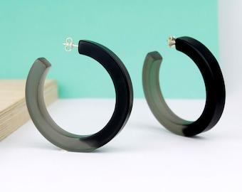 Black resin hoop earrings, black resin earrings, resin and silver hoop earrings, resin jewelry, necklace therapy, gift for her, bold hoops