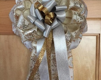 "Holiday Gift Bow in Gold and Silver for Gift Box, Gift Basket, Wreath, Door or Wall Hanging - 7"" x 12"""