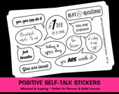 Positive Self Talk Stickers, Planner Stickers, Bullet Journal Stickers, Affirmations, Positive Thoughts