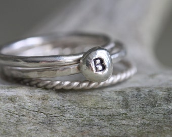 Silver Drop Personalized - Initial Stacking Rings - Stackable Name Rings - Hand Stamped Rings - Custom Stacking Ring - Dainty Ring Set