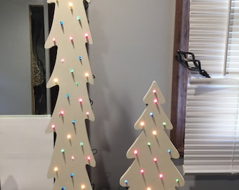 White Wooden Christmas Tree with Lights