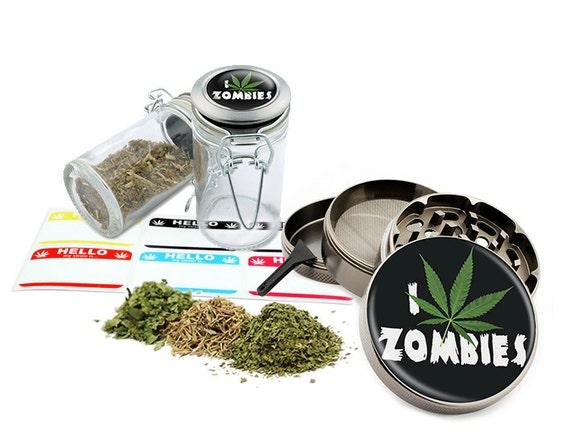 """Leaf Zombie Design - 2.5"""" Zinc Alloy Grinder & 75ml Locking Top Glass Jar Combo Gift Set Item # G50-82515-10"""