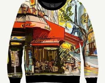 Paris Cafe, Street Cafe - Men's Women's Sweatshirt   Sweater - XS, S, M, L, XL, 2XL, 3XL, 4XL, 5XL