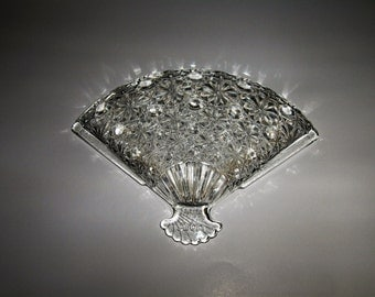 Avon Fan Shaped Glass Trinket Dish, Tray