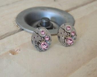 Earrings, watch, pink swarovski crystal, stones rubies, steampunk, steampunk earrings