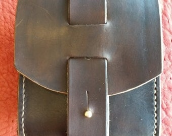 Leather handstitched Belt Pouch with side gusset - dark brown