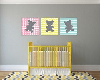 Teddy Bear Wall Art, set of 3 - Personalized Nursery Decor - option of: CANVAS or DIGITAL, printable file- nursery art - kids room art
