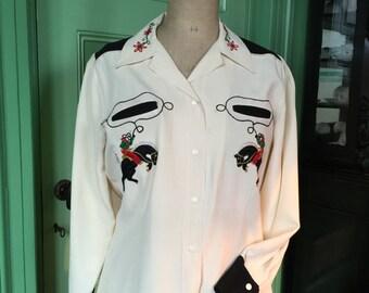 1950s western women's shirt, Western-Maid Axler of Denver, black white, stunning condition