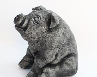 Sitting Pig Concrete Wall Plaque Cement Pig Figure Cast Stone Garden Statue  Pig Art Decor