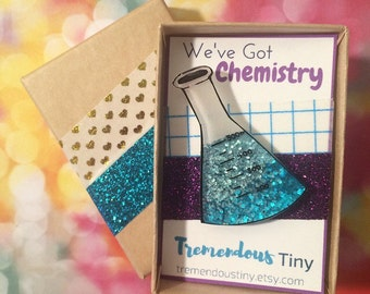 We've Got Chemistry! Glitter Erlenmeyer Flask Lapel Pin | Tie Tac, Brooch, Stick Pin, STEM Scientist Gift, Science Jewelry