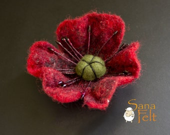 Red Poppy Brooch, Felted flower brooch, Red jewelry, Red brooch, poppy jewelry, Mothers Day gift, for Her, for woman, gift under 20
