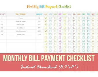 Monthly Bill Payment Checklist, Monthly Bill Tracker, Bill Payment Checklist Printable, Instant Download, Bill Payment Tracker