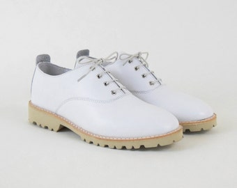 White Leather Oxford Shoes