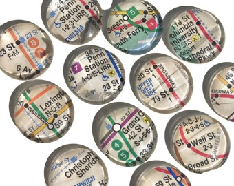 Set of 12 NYC Subway Map Glass Magnets - 1 inch Domed Glass Cabochon Ceramic Magnets Fridge Magnets - Authentic New York City Map Magnets!