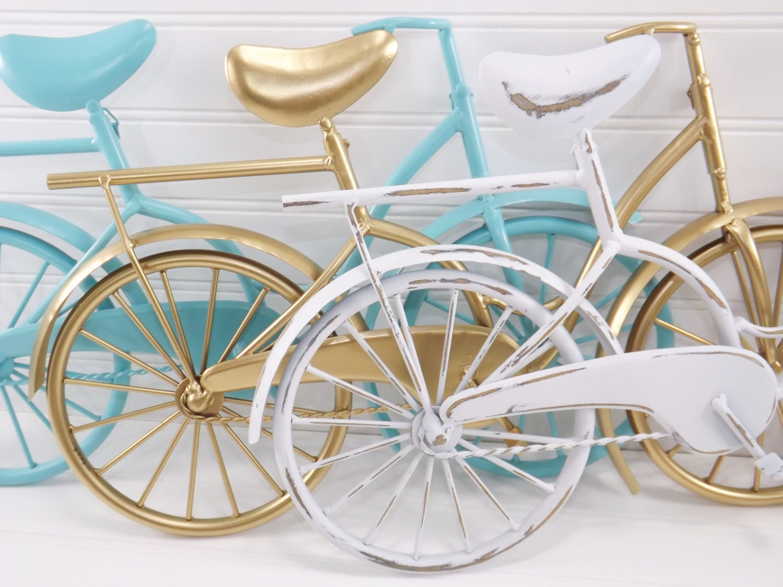 Metal Wall Decor Bicycle : Metal bicycle wall decor aqua white gold