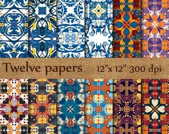 "Tiles digital papers: ""ARABESQUE TILES"" portuguese tiles , tunisian tiles , spanish tiles , abstract pattern , scrapbook papers"