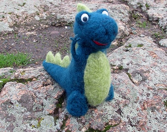 Wool Dino. Needle felted natural wool toy. Stuffed Wool Toy