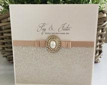 The 'Fay & Justin' pocket fold Wedding invitation / Wedding Invite / Gold Wedding invite