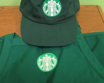 New Logo Starbucks barista apron and hat set,both adjustable one size fit all