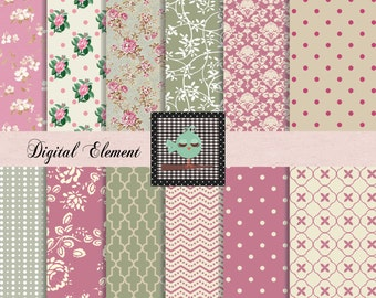 Commercial Use: Digital Floral Paper, Scrapbook Paper, Floral Paper, Victorian Roses, Scrapbook Paper, Green Digital Paper, No. V7.18