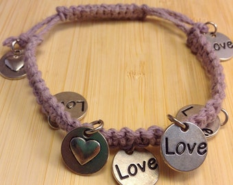 Love Charm Macrame Bracelet - Charm Bracelet - Macrame Bracelet - Macrame Jewelry - Hemp Jewelry - Love Charm - Heart Charm - FundyJewellery