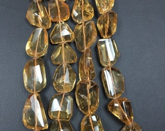 Citrine Faceted Nuggets, 8 Inch Strand,Yellow Citrine Quartz, 10x15 to 12x17mm, 14x18 to 16x22mm, Top Quality